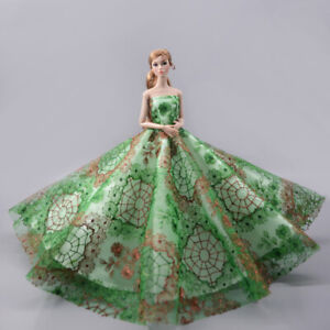 Green-Wedding-Dress-Big-Evening-Party-Gown-Dress-Outfits-Clothes-for-Barbie-Doll