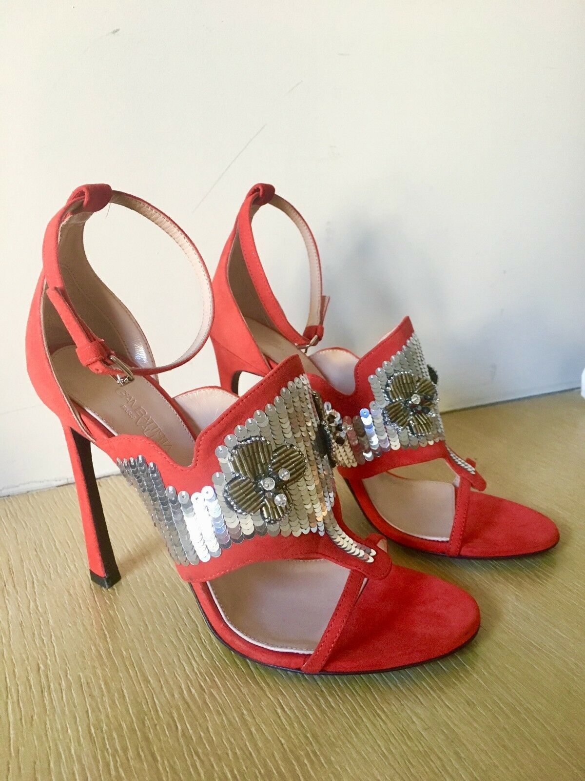 GIAMBATTISTA VALLI bag dress rouge rouge rouge argent or runway sequins jewel chaussures 38 us 8 ae9919