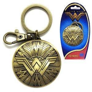 """Wonder Woman Movie New /""""WW/"""" Shield Logo Brass Metal Pewter Key Ring Keychain"""