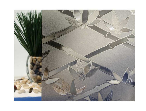 Tinted Bamboo Flowers Cut Glass Static Cling Window Film, 35  Wide x 82 ft