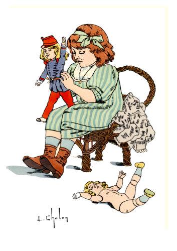 Reproduction Aquarelle L Chalon Mobilisation 1914 Petit fille poupée ancienne
