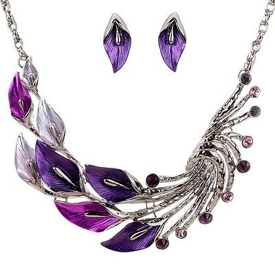 Jewelry Set Tibetan Silver Purple Leaf Peacock Chain CZ Earrings Necklace