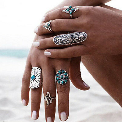 Retro 9PCS/Set Punk Vintage Silver Boho Midi Ring Womens Geometry Finger Rings
