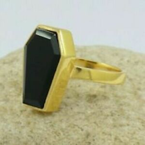 Black Onyx Coffin Ring 925 Sterling Silver Ring 14K Gold Plated All Size KA-58
