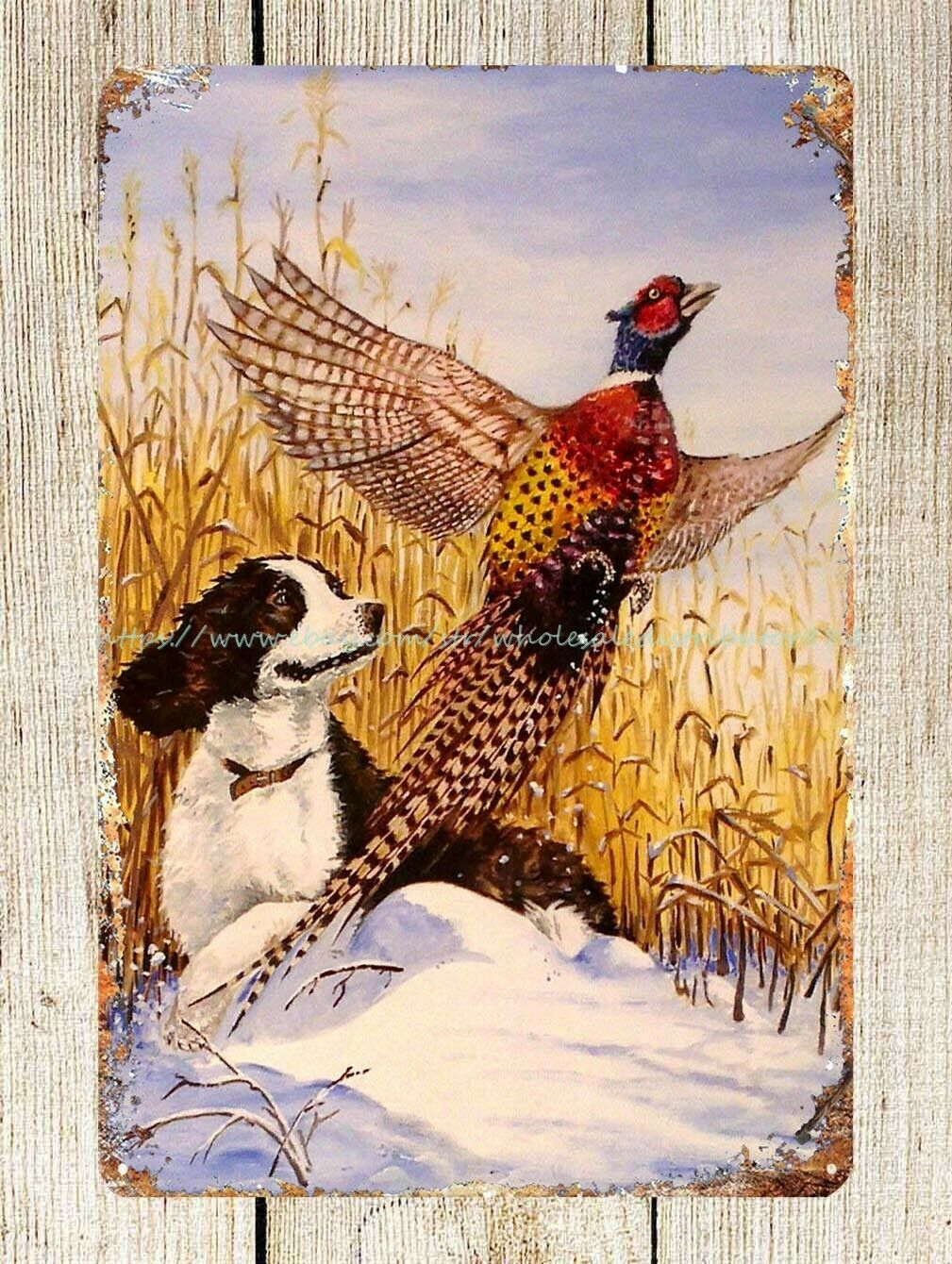 US Seller- artwork prints for sale hunting dog pheasant metal tin sign 2