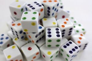 WHOLESALE-LOT-200-WHITE-DICE-MULTICOLOR-PIPS-6-SIDED-D6-DIE-GAME-SIX-5-8-034-16mm