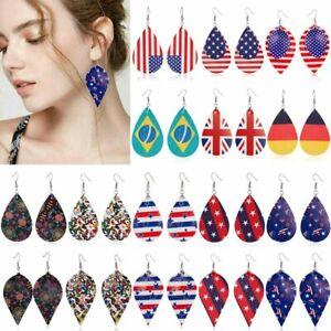 Fashion-USA-Flag-Ball-Leather-Ear-Drop-Dangle-Hook-Earrings-Leaf-Teardrop-Ladys