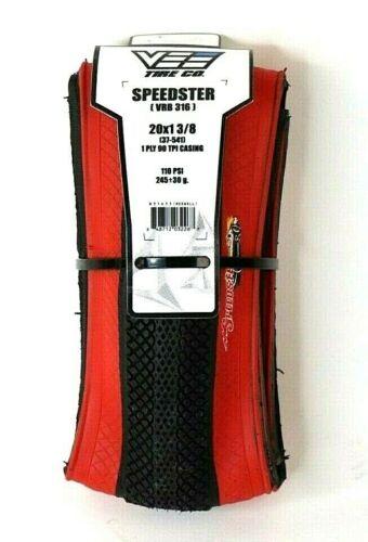 Vee Rubber Speedster 20x1-3//8 Folding BMX Bicycle Tire 90tpi
