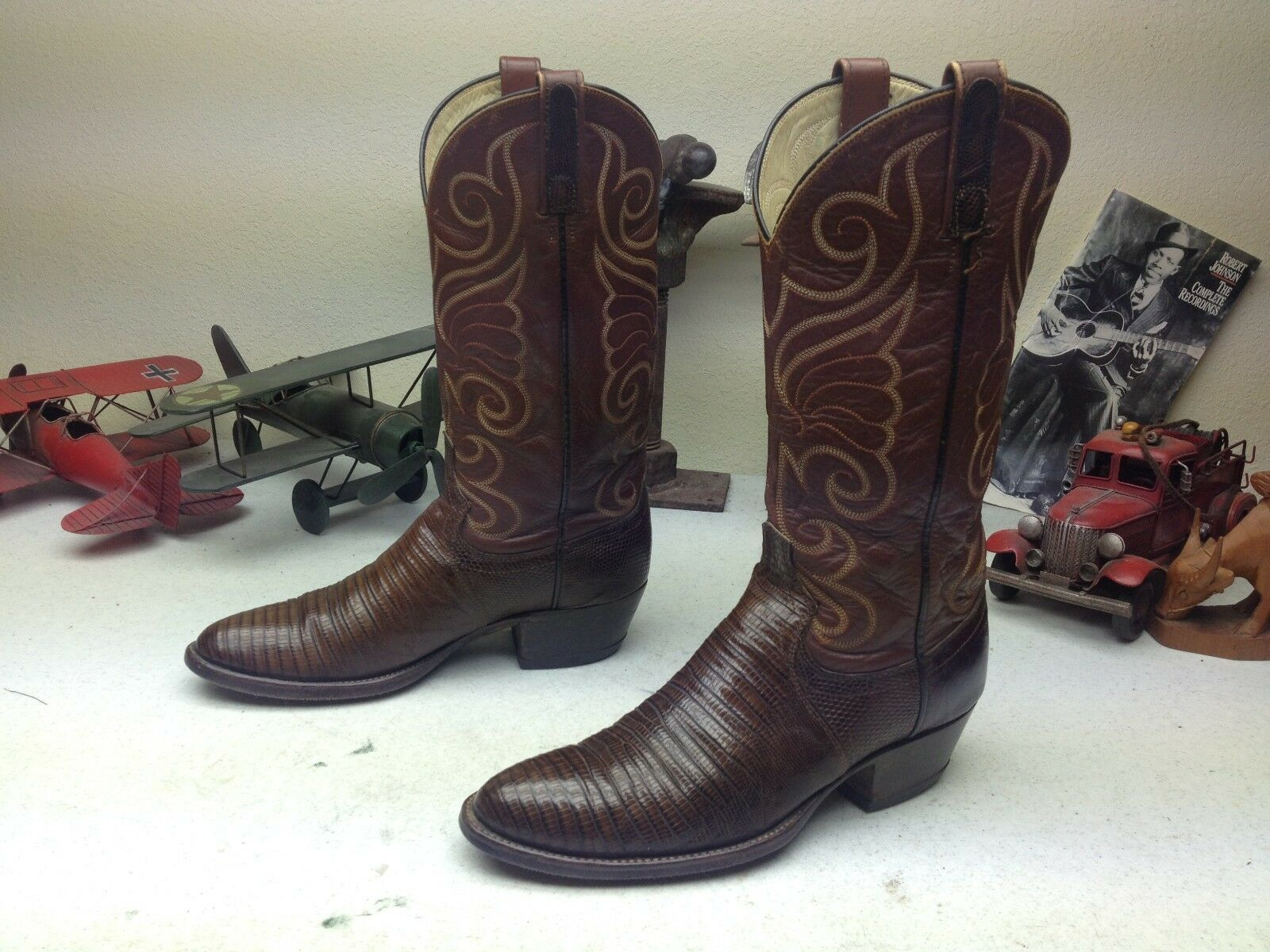 Envejecido DAN Usa Vintage Marrón Cuero De Lagarto POST Western Trail Boss botas 7D
