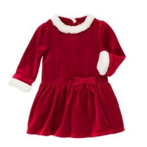 NWT-Gymboree-Toddler-Girl-SWEET-TREATS-Red-Velour-Faux-Fur-Holiday-Dress-Sz-4T