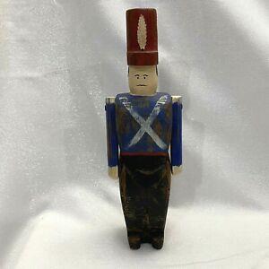 "Wolf Creek Wood Folk Art Carved Royal Guard Soldier 11"" Figure Primitive Rustic"