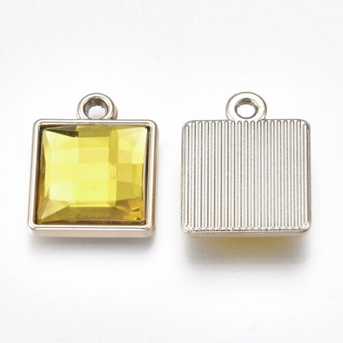 100 pcs Acrylic Rhinestone UV Plating Faceted Square Acrylic Pendants 21x17x5mm