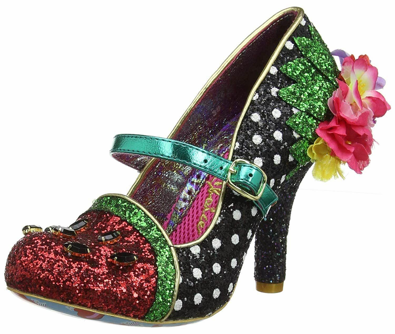 Irregular Choice Crimson Sweet Schwarz Grün Damens Mary Jane Court schuhe Heels