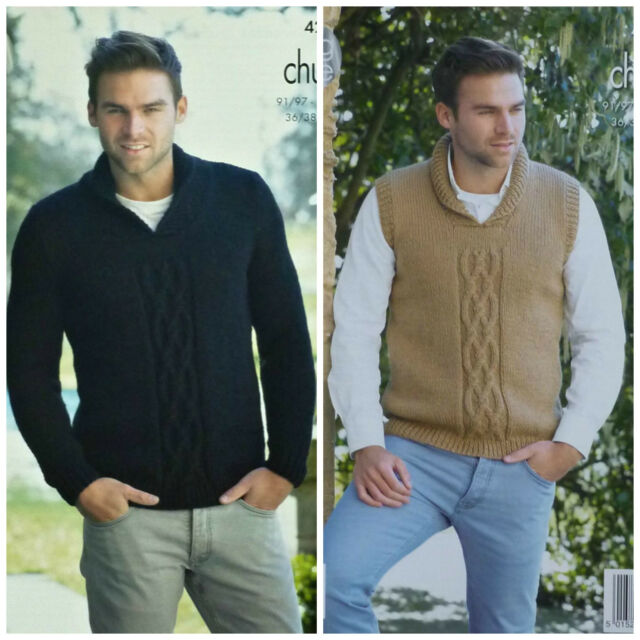 King Cole 4283 Knitting Pattern Mens Sweater And Slipover In Magnum