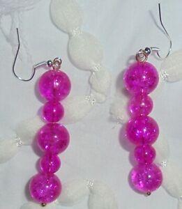 Pink Punky Paint Splatter Glass Bead Dangle Earrings