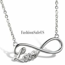 Womens Stainless Steel Infinity Symbol With Love Charm Pendant Necklace for Gift