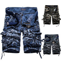 Mens Casual Leisure Slim Cotton Solid Multi-Pocket Cargo Shorts Sports Pants New