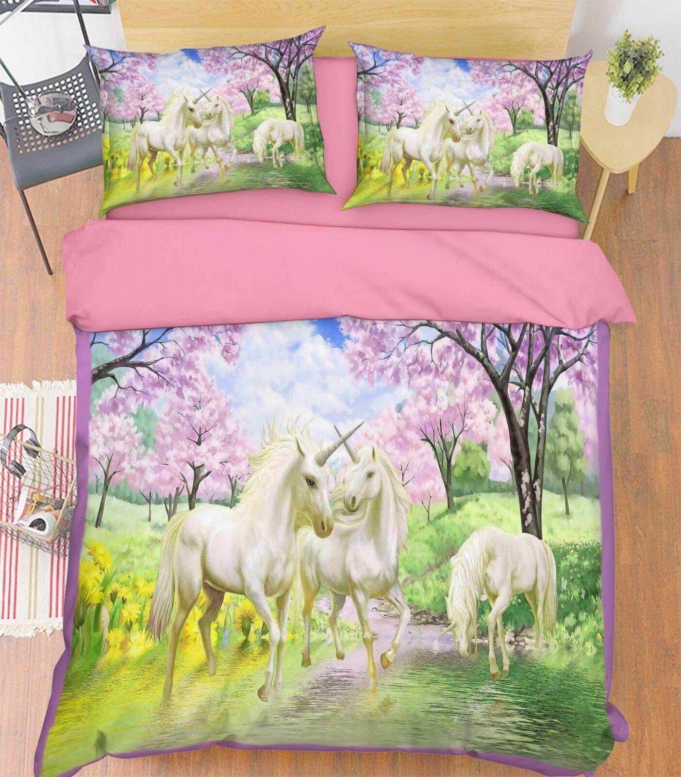 3D Wood Unicorn 740 Bed Pillowcases Quilt Duvet Cover Set Single Queen King CA