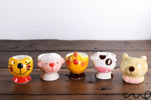 Set 5 Lovely Hand Painted Ceramic Egg Cup Cat Sheep Cow Chicken Bear Animal Gift