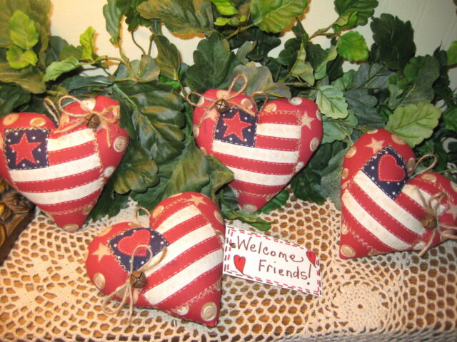 PATRIOTIC CHRISTMAS FLAG HEART ORNIES ORNAMENTs WREATH - MAKING GARLAND DECOR
