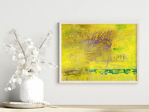 8x10 Print - Bright Yellow Abstract Unframed Wall Art Katie Jeanne Wood