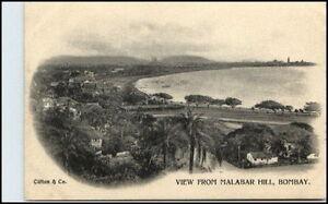 BOMBAY-Mumbai-Indien-India-Vintage-Postcard-1900-View-From-Malabar-Hill-RARE