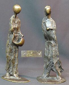 A 1940 Jolie Paire Statuette Bronze Sculpture Filiforme Minimaliste 21cm1.2kg + Peut êTre à Plusieurs Reprises Replié.