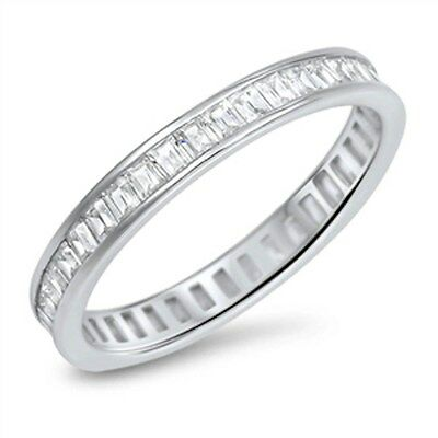 Baguette Cz Eternity 3mm Band .925 Sterling Silver Ring Sizes 4-11