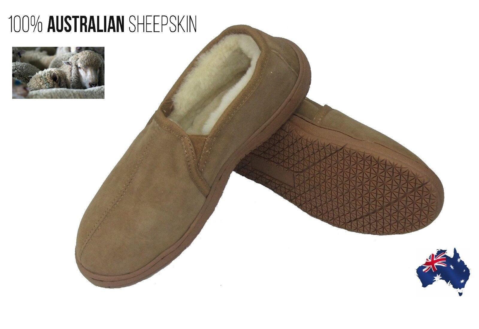 Mens Sheepskin Slippers Moulded Sole Chestnut  Brown Slipper Indoor Outdoor shoes