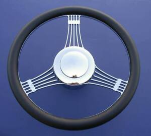Details about 55 56 57 Chevy Banjo Leather & Chrome Steering Wheel on