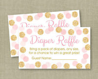Blush Pink & Gold Glitter Dots Printable Baby Shower Diaper Raffle Tickets