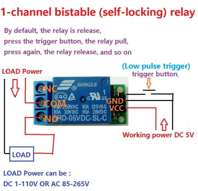 1 Channel 5V10A Latching Relay Module Bistable Self-locking Pluse Trigger on