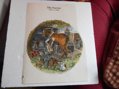 "1990s 8"" SMOOTH SURFACE TRANSFER OF THE FARRIER RE SHOEING SHIRE HORSE SIGNED"