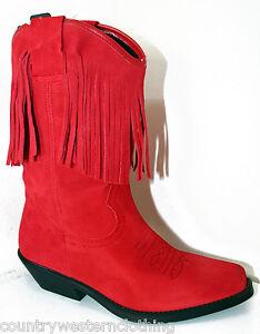 Ladies Cowboy Boots Red Suede Tassels