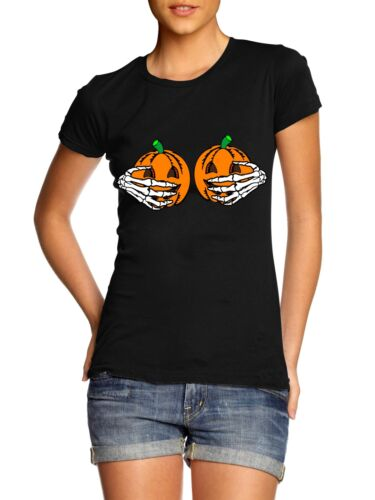 Pumpkin Boobs T-Shirt Womens Halloween Skeleton Hands Funny Joke Top Ladies