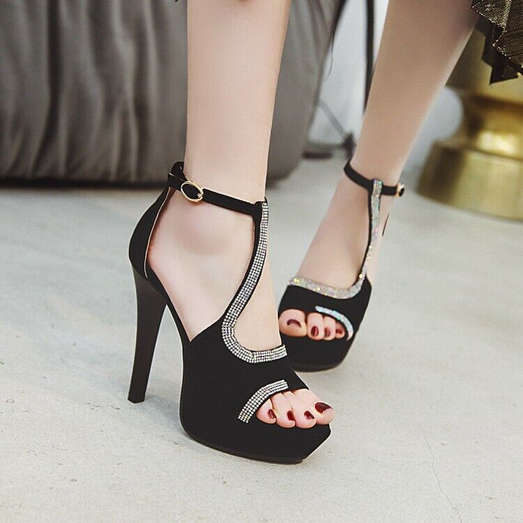 Women High Heel Bling Rhinestone Fashion Sandals Peep Toe Strappy Platform shoes