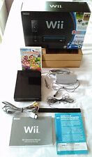 Nintendo Wii Black with box, all cords and manuals Original Owner Works Great