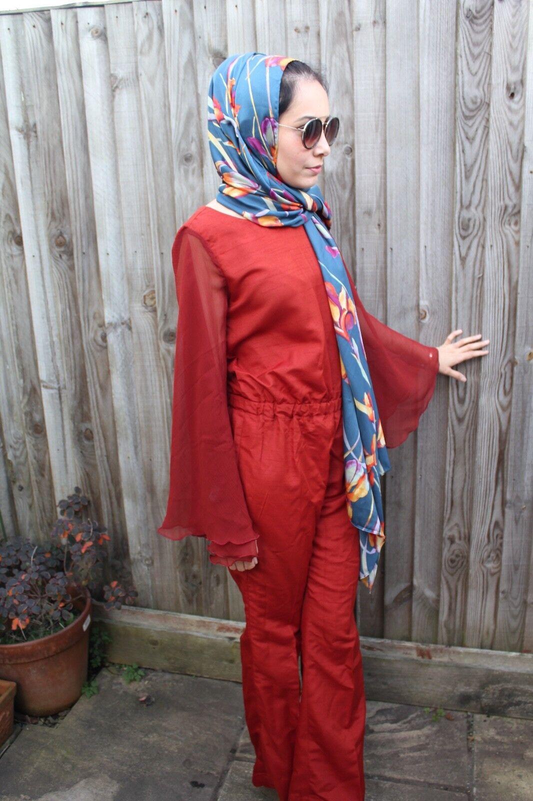 Women Angel Sleeve Jumpsuit Raw Silk Blend Rust Christmas Modest Flared Boot Cut