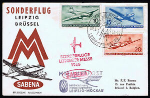 1956 DDR GERMANY AIRMAIL FIRST FLIGHT COVER LEIPZIG - BRUSSEL (ESP#814)