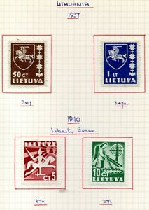 1937 and 1940 Lithuania mint on paper