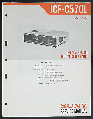 Sony Service Manual~ICF-210W 2 Band Radio~Original~Repair
