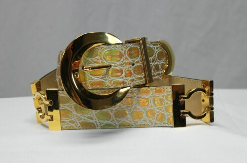 BB Simon Gold Shining Croc Embossed Leather Belt S