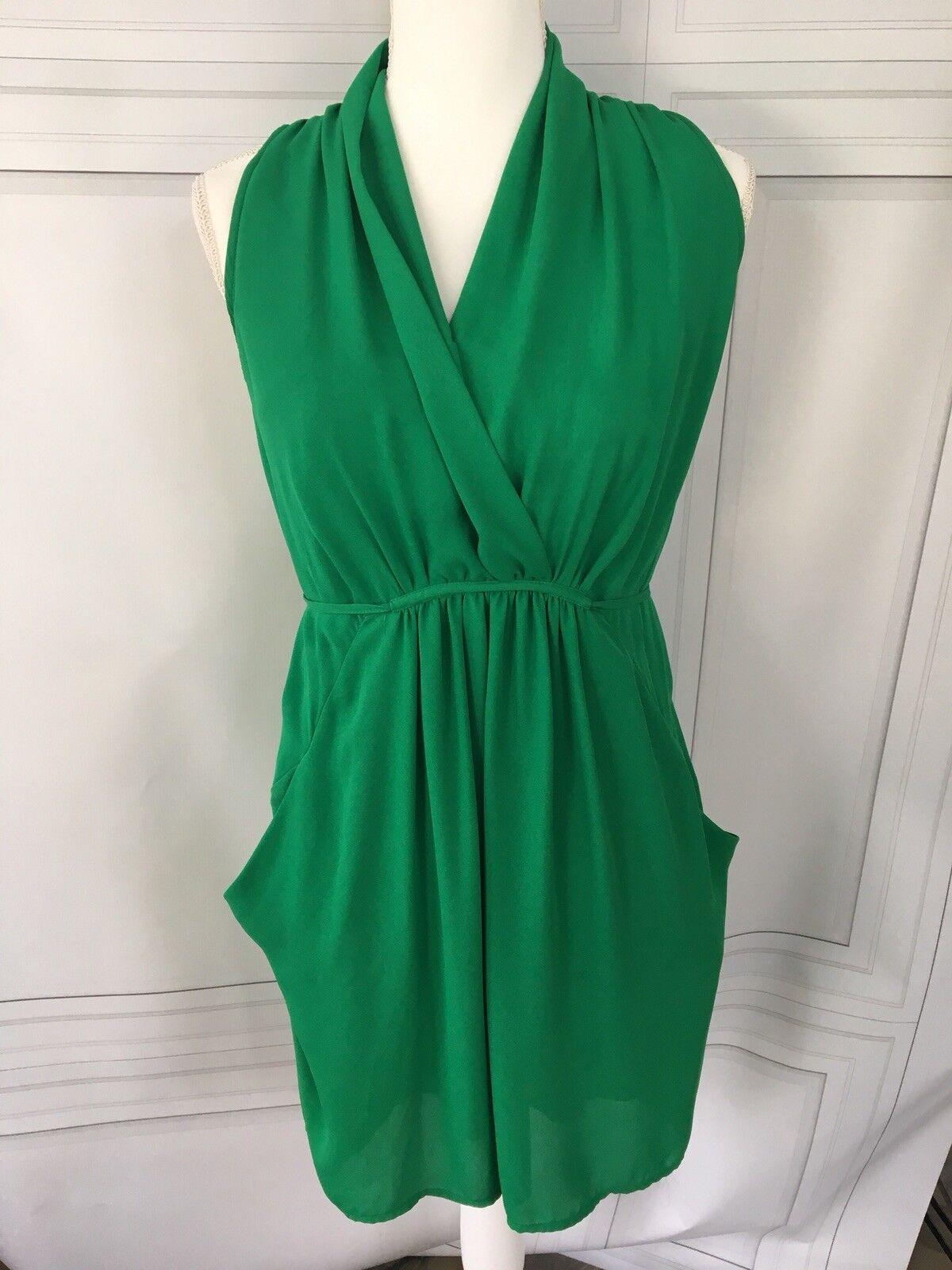142d166e1ef98 Cusp Cusp Cusp for Neiman Marcus Kelly Green Silk Dress Sz S c0647f ...