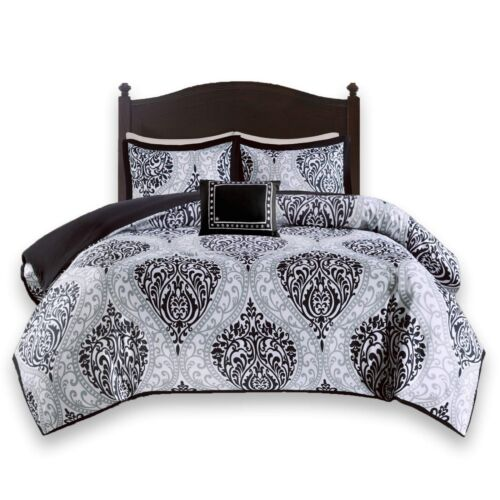 Comfort Spaces Printed Black and White 3 Piece Coco Twin Comforter Set