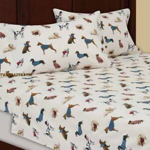 Image Is Loading TWIN SIZE FLANNEL SHEET SET DOGS IN HAND