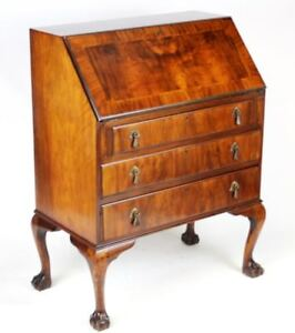 Genial Details About Antique Queen Anne Style Walnut Bureau Writing Desk   FREE  Shipping [PL3156]