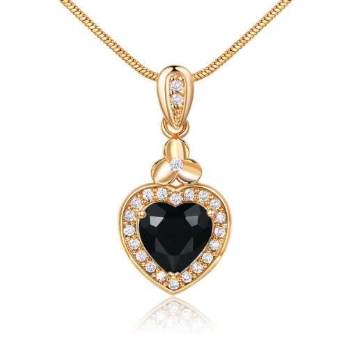 Mystery Black Crystal Heart 18K Gold Filled Pendant Women Lady Banquet Necklace