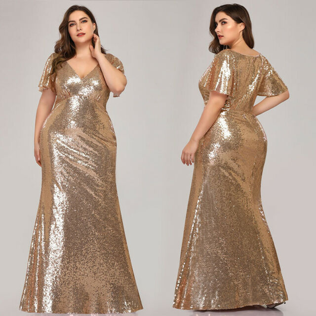 Ever-pretty US Short Sleeve Plus Size Formal Gowns Evening Sequins party  Dresses