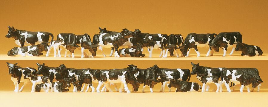 Preiser 14408 Mucche, black Bianco, 30 Figure,