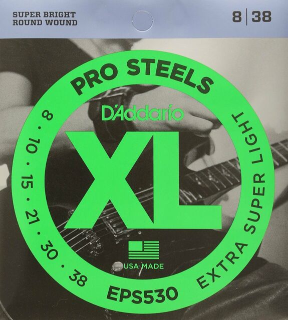 D'Addario EPS530 XL ProSteels Extra Super Light 008-.038 Electric Guitar Strings